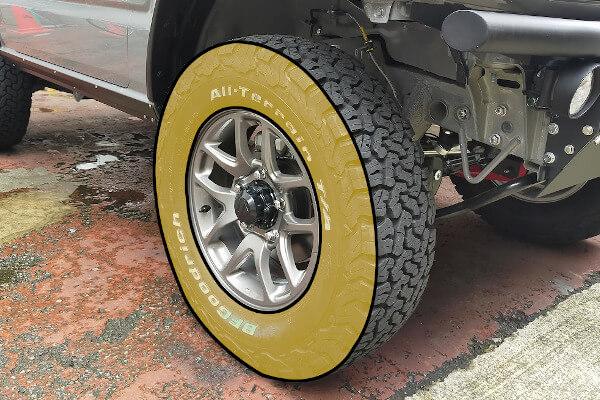 タイヤのサイドウォール部分