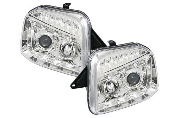 JB23 ジムニー 流れるLEDウインカー内蔵 10連LEDプロジェクターヘッドライトV2(クロームタイプ)
